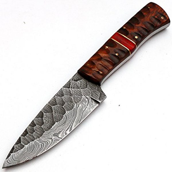 """PAL 2000 Fixed Blade Survival Knife 3 PAL 2000 """"8670"""" Damascus Steel Knife - Damascus Knife with Leather Sheath"""