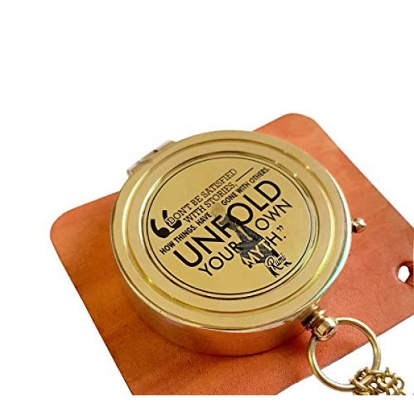 Brass Nautical Survival Compass 5 Brass Nautical - Rumi's Brass Unfold Your Own Myth Compass with Leather Carry Pouch and Gift Box, Graduation Day, Confirmation Day, Baptism Gifts, New Year Gift, Birthday, Anniversary, Valentine