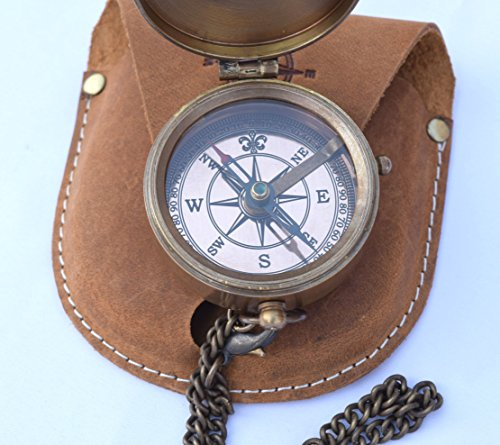 NEOVIVID Survival Compass 5 NEOVIVID Brass Pocket Compass, Engravable Compass, Camping Compass, Hiking Compass, Wedding Gifts