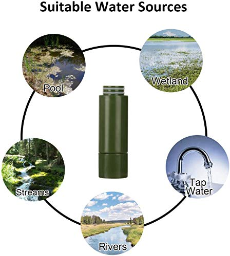 Purewell  5 Purewell Replaceable Water Filter for Portable Filtered Water Purifier - Emergency Water Filter Pump with 4-Stage Integrated Filter for Camping Hiking Backpacking
