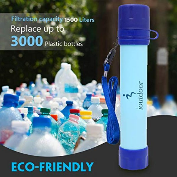 ioutdoor Survival Water Filter 5 ioutdoor CE Certified Water Filter Straw with Free Emergency Blankets,Portable Lightweight Personal Water Purifier Prepared for Hiking Camping Fishing Hunting Backpacking Travel