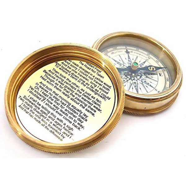 THORINSTRUMENTS Survival Compass 2 THORINSTRUMENTS (with device) Robert Frost Brass Poem Compass-Pocket Compass w Leather Case