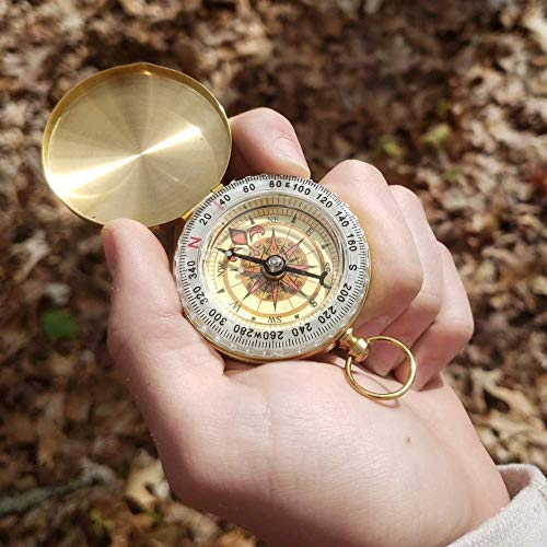 FUTURESTEPS  2 FUTURESTEPS Brass Compass - Includes Solid Brass Whistle - New Version - Survival Set - 105 Decibels - Survival Kit - Solid Brass Compass - Carry in Pocket or on Necklace - Two Pieces