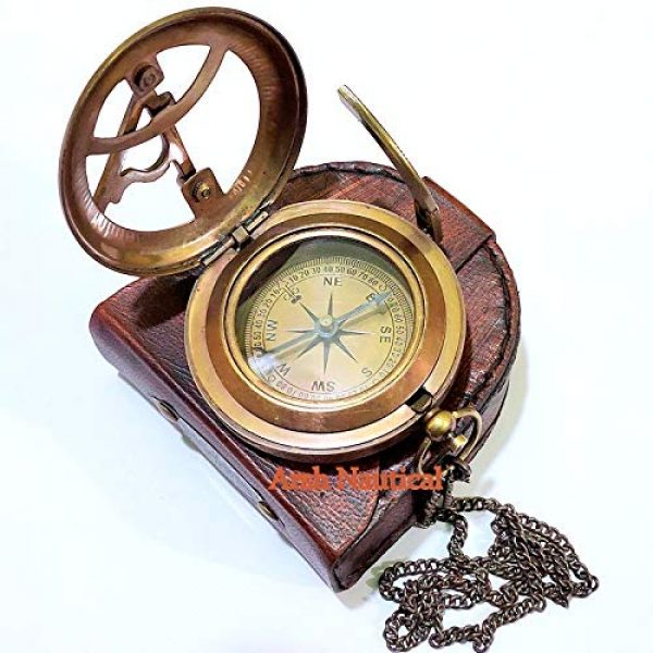 Arsh Nautical Survival Compass 3 Arsh Nautical Gifts for Husband/Nautical Collectibles Brass Sundial Compass with Handmade Leather Case