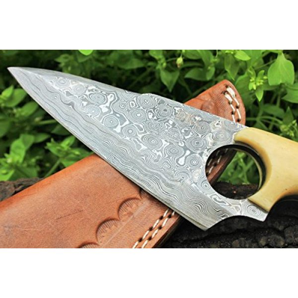 """DKC Knives Fixed Blade Survival Knife 3 DKC Knives (4 5/18 vs 40) Sale DKC-86 White Fox Damascus Skinner Hunting Knife 9"""" Long 5"""" Blade 9.2oz High Class Looks Incredible Feels Great in Your Hand and Pocket Hand Made"""