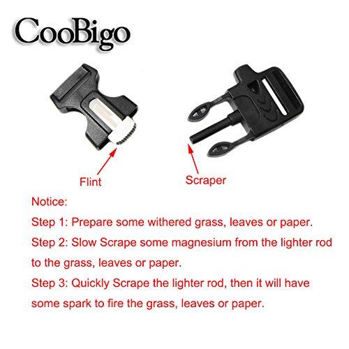 "CooBigo  3 10Pcs 3/4"" (19mm) Fire Starter Survival Whistle Buckle Flint Scraper for Outdoor Hiking Camping Backpack Bag"