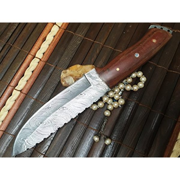 Perkin Fixed Blade Survival Knife 2 Perkin - Handmade Damascus Hunting Knife with Sheath