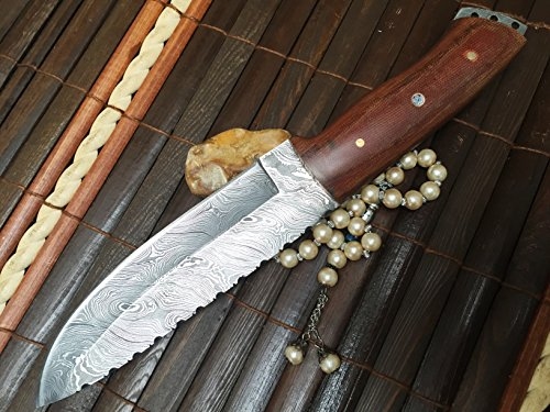 Perkin  2 Perkin - Handmade Damascus Hunting Knife with Sheath