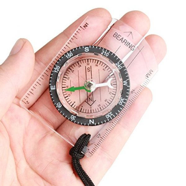 Flexzion Survival Compass 2 Flexzion Mini Baseplate Compass Pocket Style with MM INCH Measure Ruler and Neck Strap for Outdoor Hiking Camping Boating Map Reading Orienteering Tool in Transparent White