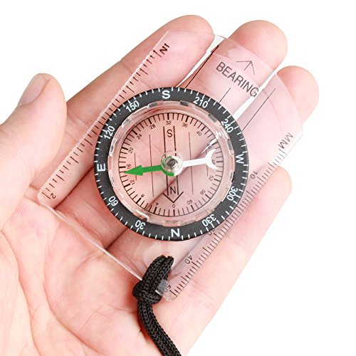 Flexzion  2 Flexzion Mini Baseplate Compass Pocket Style with MM INCH Measure Ruler and Neck Strap for Outdoor Hiking Camping Boating Map Reading Orienteering Tool in Transparent White