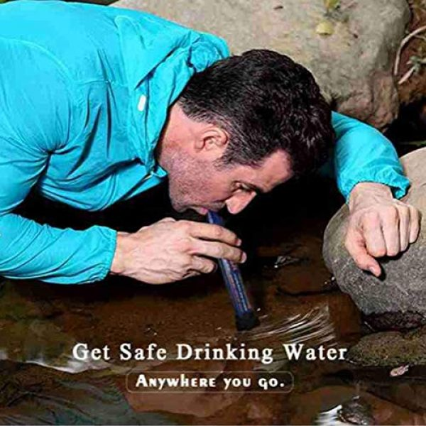 WMMDM Survival Water Filter 7 Life Straw Personal Water Filter, for Camping, Outdoor Adventure Emergency Preparedness Water Purifier Purifiable 2000L