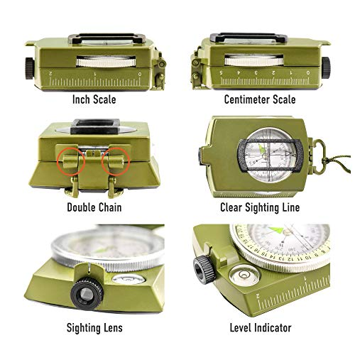 TurnOnSport Survival Compass 5 Lensatic Military Compass Hiking - Tritium Compass Military Grade style Camping Backpacking - Tactical Army Green Compass Survival Navigation - Hiking Waterproof Sighting Compass with Pouch
