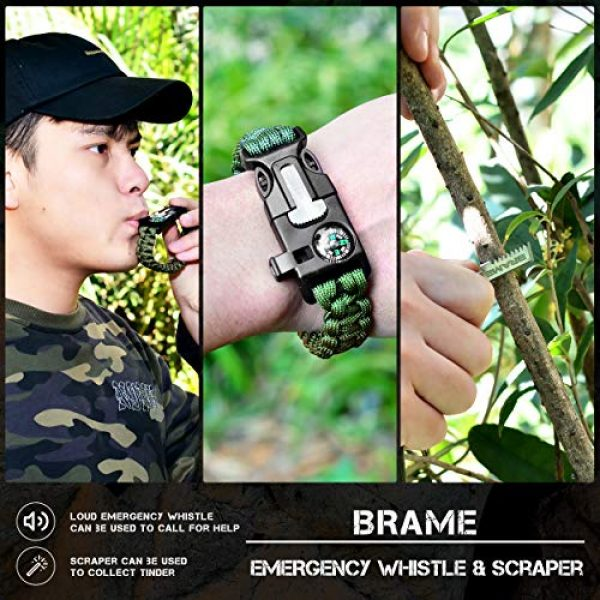 Brame Survival Fire Starter 7 Brame Ferro Rod 6 inch x 1/2 inch Fire Starter and Emergency Bracelet with Compass and Whistle, Fire Starting Survival Gear HSS Steel Scraper Ferrocerium Rod Kit with 9 ft Paracord and Carabiner