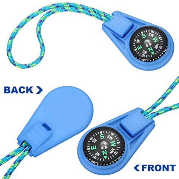 BBTO Survival Compass 3 BBTO 18 Pieces Multi-Color Mini Survival Compass Outdoor Camping Hiking Pocket Compass Liquid Filled Mini Compass on Cord for Emergency Survival Kits Watchband Paracord Bracelet Necklace Key Chain