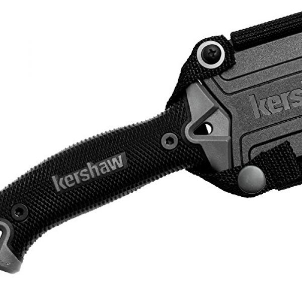 Kershaw Fixed Blade Survival Knife 5 Kershaw Camp 10 (1077), Fixed Blade Camp Knife, 10-inch 65Mn Carbon Tool Steel, Basic Black Powdercoat, Full Tang Handle With Rubber Overmold, Dual Lanyard Holds, Includes Molded Sheath, 1LB. 3OZ.