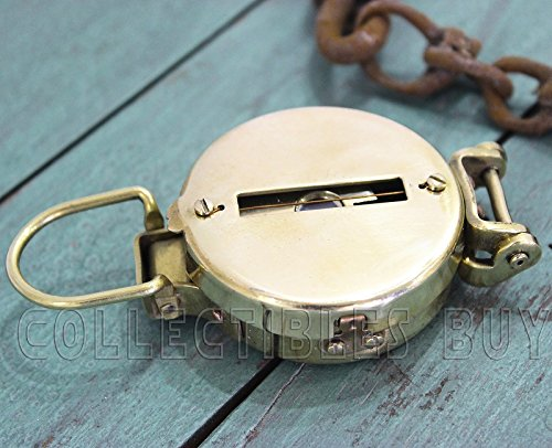 collectiblesBuy  5 collectiblesBuy Vintage Old Style Military Compass Nautical Pocket Shiny Brass Navigational Instrument