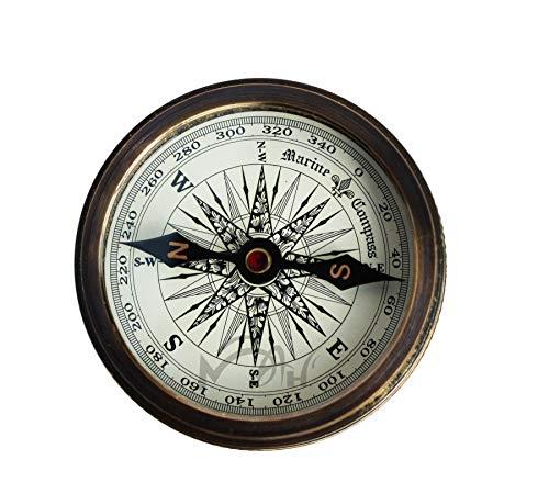 MAH Survival Compass 5 MAH Robert Frost Brass Poem Compass. C-3122
