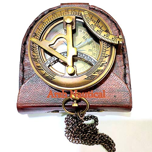 Arsh Nautical  5 Arsh Nautical Gifts for Husband/Nautical Collectibles Brass Sundial Compass with Handmade Leather Case