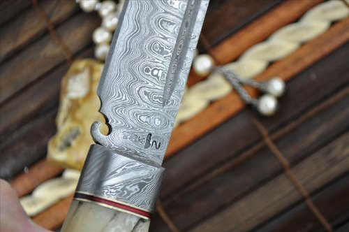 Perkin Knives  7 Perkin Knives - Custom Handmade Damascus Hunting Knife - Beautiful Camping Knife