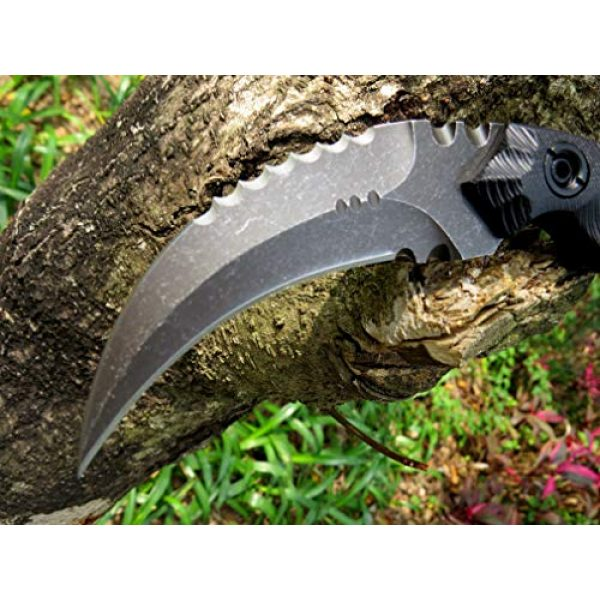 Canku Fixed Blade Survival Knife 4 Canku C1691 Fixed Blade Knife D2 Steel G10 Handle 4 Inches,Outdoor Survival Claw Tactical Teeth Knife,Camping EDC Tools, Kydex Sheaths