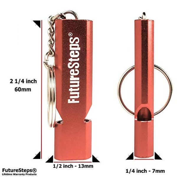 FUTURESTEPS Survival Whistle 2 FUTURESTEPS Survival Whistle, Emergency Safety, Loud for Hiking, Storm, Camping, Boating, Dog Training with Lanyard - 120 Decibels - Red Color - 36 Inch Lanyard