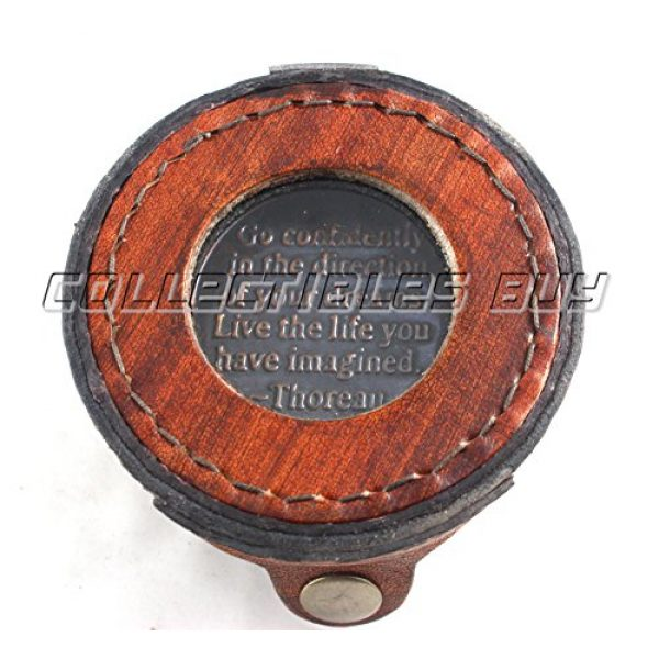 collectiblesBuy Survival Compass 3 Vintage Antique Quote Compass with Leather Round Box Handmade Gifts - Nautical Compass with Quote by Thoreau