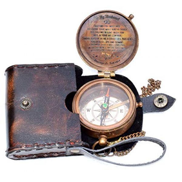 india nautical Survival Compass 3 india.nautical. Grow Old with ME Engraved Brass Compass ON Chain with Leather CASE, Directional Magnetic Compass in