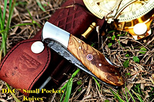 """DKC Knives  7 DKC Knives DKC-58-LJ-OW Little Jay Damascus Folding Pocket Knife Olive Wood Handle 4"""" Folded 7"""" Long 4.7oz oz High Class Looks Feels Great in Your Hand and Pocket Hand Made LJ-Series"""