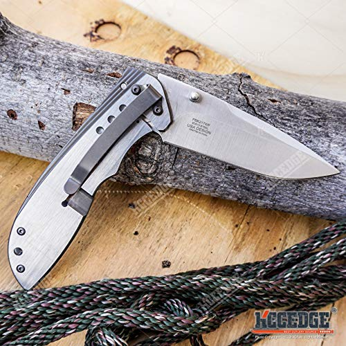 KCCEDGE BEST CUTLERY SOURCE  7 KCCEDGE BEST CUTLERY SOURCE EDC Pocket Knife Camping Accessories Razor Sharp Edge Wildlife Folding Knife Camping Gear Survival Kit 57376 (Wolf)