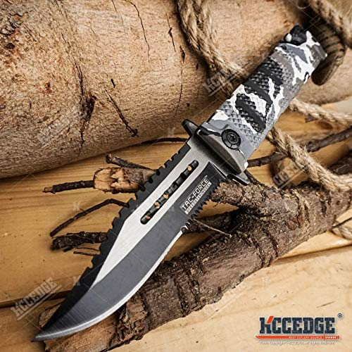 KCCEDGE BEST CUTLERY SOURCE  6 KCCEDGE BEST CUTLERY SOURCE Pocket Knife Camping Accessories Survival Kit Razor Sharp Serrated Clip Point Survival Folding Knife Camping Gear Survival Kit EDC 55419