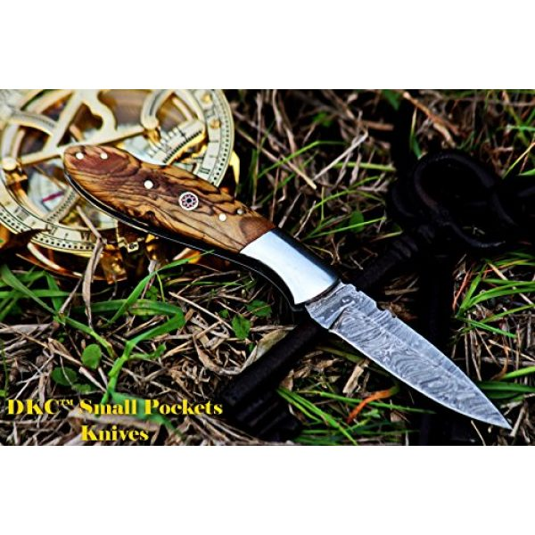 """DKC Knives Folding Survival Knife 5 DKC Knives DKC-58-LJ-OW Little Jay Damascus Folding Pocket Knife Olive Wood Handle 4"""" Folded 7"""" Long 4.7oz oz High Class Looks Feels Great in Your Hand and Pocket Hand Made LJ-Series"""