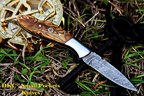 """DKC Knives  5 DKC Knives DKC-58-LJ-OW Little Jay Damascus Folding Pocket Knife Olive Wood Handle 4"""" Folded 7"""" Long 4.7oz oz High Class Looks Feels Great in Your Hand and Pocket Hand Made LJ-Series"""