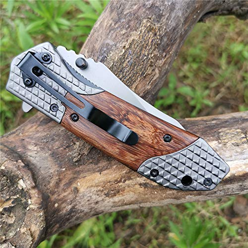 DOOM BLADE  7 DOOM BLADE One Hand Opening Folding Pocket Knife SpeedSafe with Wood Handle - EDC Pocket Folding Knife with Safety Liner Lock for Camping Hunting Survival and Outdoor