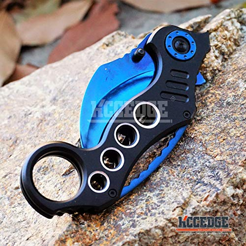 KCCEDGE BEST CUTLERY SOURCE  4 KCCEDGE BEST CUTLERY SOURCE Pocket Knife Camping Accessories Survival Kit Razor Sharp Karambit Survival Folding Knife Camping Gear EDC 55310 (Blue)