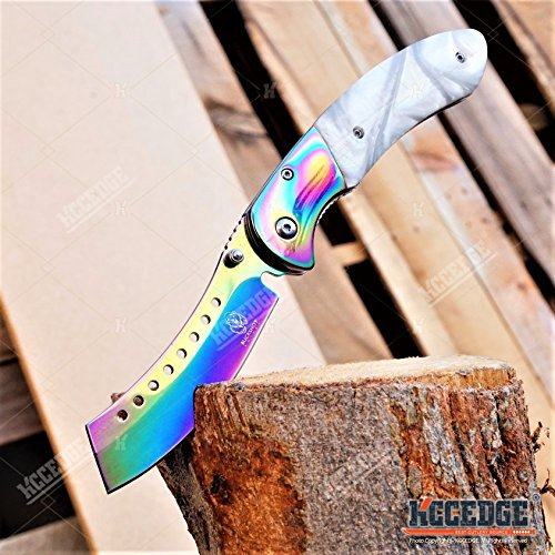 Wartech  7 Buckshot Knives 8PC Ultimate Rainbow Combo Set Tactical Outdoor EDC Pocket Folding Knife Razor Blade Cleaver Wrench Multipurpose Camping Gear Pocket Knife