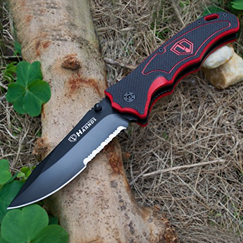 """Harnds  3 Harnds Folding Hunting Knife 4.2"""" Blade Military-Grade Double Safety Lock Tactical Gear with Sheath"""