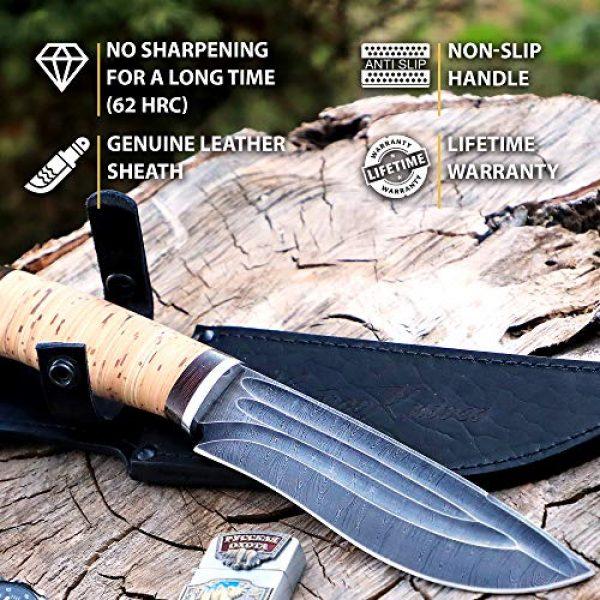 Nazarov Knives Fixed Blade Survival Knife 3 Hunting Knife - Damascus Knife - Birchbark Handle Siberian w/Fullers - Fixed Blade Knife