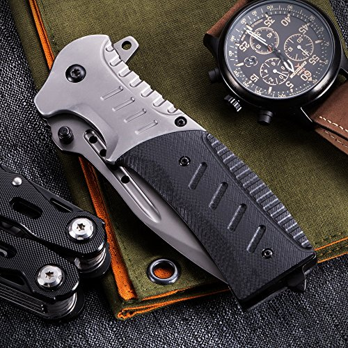 Grand Way  6 Pocket Knife Spring Assisted Knives for Men - Assisted Opening Folding Tactical Survival Knofe - EDC Camping Hunting Boy Scouts Gear Accessories Knifes Christmas Gift Ideas for Men Guys 6783