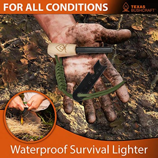 "Texas Bushcraft Survival Fire Starter 6 Texas Bushcraft Fire Starter - 3/8"" Thick Ferro Rod with Striker and Paracord Wrist Lanyard Waterproof Flint Fire Steel Survival Lighter and Multitool for Your Camping, Hiking and Backpacking Gear"