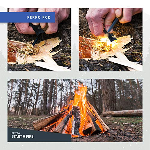 "RKR OUTDOOR  5 RKR OUTDOOR Ferro Rod Fire Starter with Handcrafted Wood Handle | 5/16"" Inch Thick Magnesium Fire Starter Rods with Multi-Functional Striker & Paracord Rope 