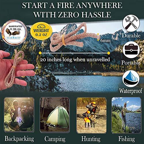 FR-1 Defense Survival Fire Starter 3 FR-1 Defense Tinder Wick Match Stick Fire Starter, Tinder Torch Wicks, Weatherproof Wax Fire Stick Lighter. Great for Camping Gear and Backpacking Gear.