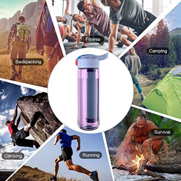 Hipoten Survival Water Filter 7 Hipoten Water Filter Bottle, 650ml Emergency Water Purifier with 4-Stage Integrated Filter Straw for Travel, Camping, Hiking, Backpacking, BPA Free