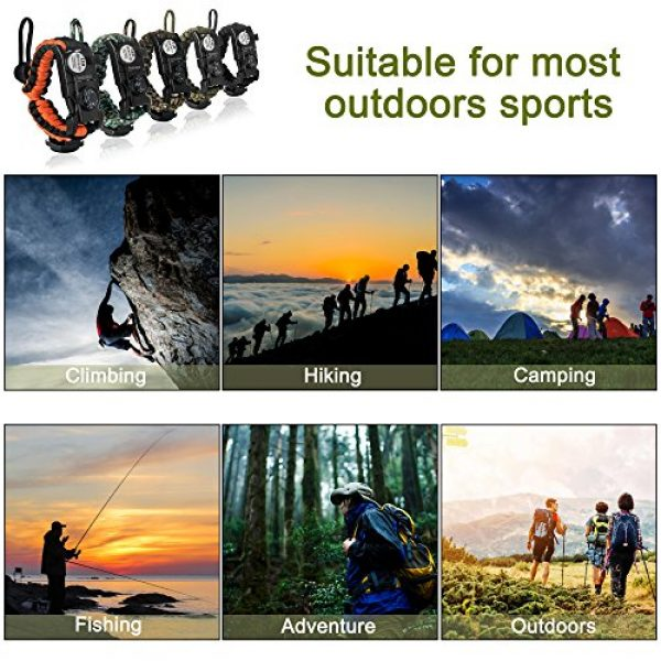 LOGAGA Survival Paracord Bracelet 6 Survival Paracord Bracelet, The Ultimate Tactical Survival Gear with SOS LED Light, Bigger Compass, Whistle, Fire Starter, Thermometer for Camping Hiking Outdoors