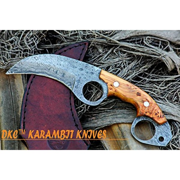 """DKC Knives Fixed Blade Survival Knife 2 DKC Knives (5 5/18) DKC-87-DS OWL Fox Damascus Steel Skinner Hunting Knife 8"""" Long 6.2oz High Class Looks Incredible Feels Great in Your Hand and Pocket Hand Made"""