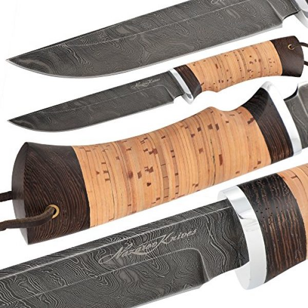 Nazarov Knives Fixed Blade Survival Knife 4 Fixed Blade Steel Hunting Knife - Sharpened OVOD Damascus Steel Blade and Crafted Birchbark/Hornbeam Handles - Comes with Genuine Leather Sheath - Full - Handmade in Russia