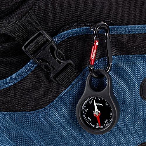 Troika Survival Compass 3 Troika WEGWEISER COS10/BK Keyring with Compass incl. Carabiner PVC/Acrylic/ABS/Aluminium red, Black Original