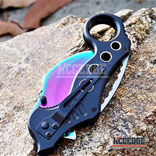 KCCEDGE BEST CUTLERY SOURCE  5 KCCEDGE BEST CUTLERY SOURCE Pocket Knife Camping Accessories Survival Kit Razor Sharp Karambit Survival Folding Knife Camping Gear EDC 55310 (Rainbow)