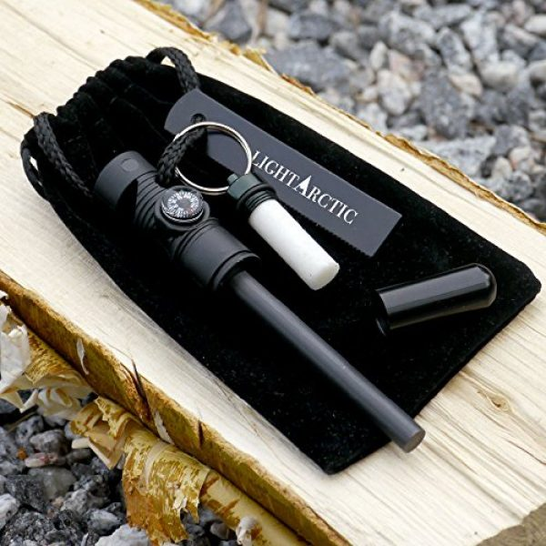 LightArctic Survival Fire Starter 6 LightArctic Magnesium Fire Starter Survival Multi-Tool with Tinder. Best for Campfires, Emergency Kit, Camping and Hiking Gear. Built-in Compass and Whistle, Waterproof Aluminum Capsule, Cloth Bag