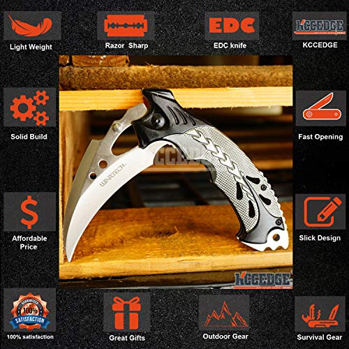 KCCEDGE BEST CUTLERY SOURCE  3 KCCEDGE BEST CUTLERY SOURCE EDC Pocket Knife Camping Accessories Razor Sharp Edge Karambit Folding Knife Camping Gear Survival Kit 56652