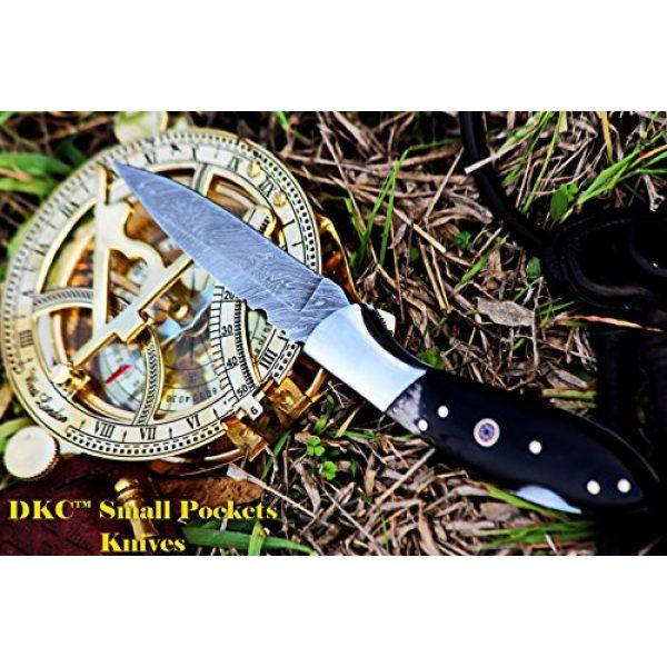 "DKC Knives Folding Survival Knife 5 DKC Knives DKC-58 Little Jay Series Knives Damascus Folding Pocket Knife 4"" Folded 7"" Long 4.7oz oz High Class Looks Hand Made LJ-Series"